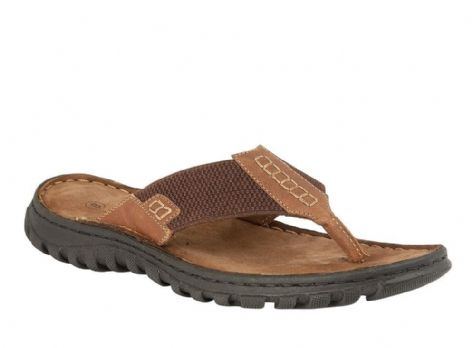Lotus Ainsley Mens Tan Leather Toe-Post Sandals